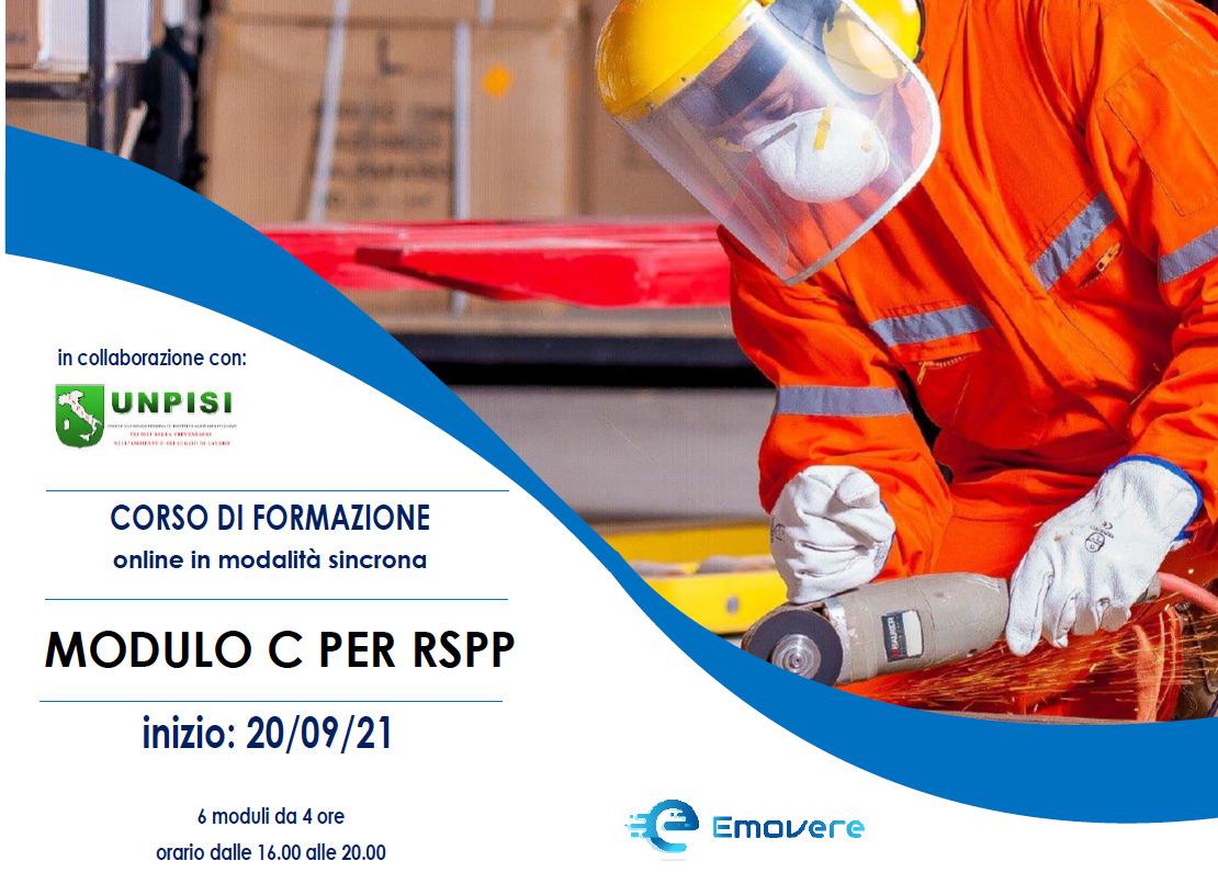CORSO DI FORMAZIONE MODULO C PER RSPP- 20/09/21 – online in modalità sincrona 6 moduli da 4 ore